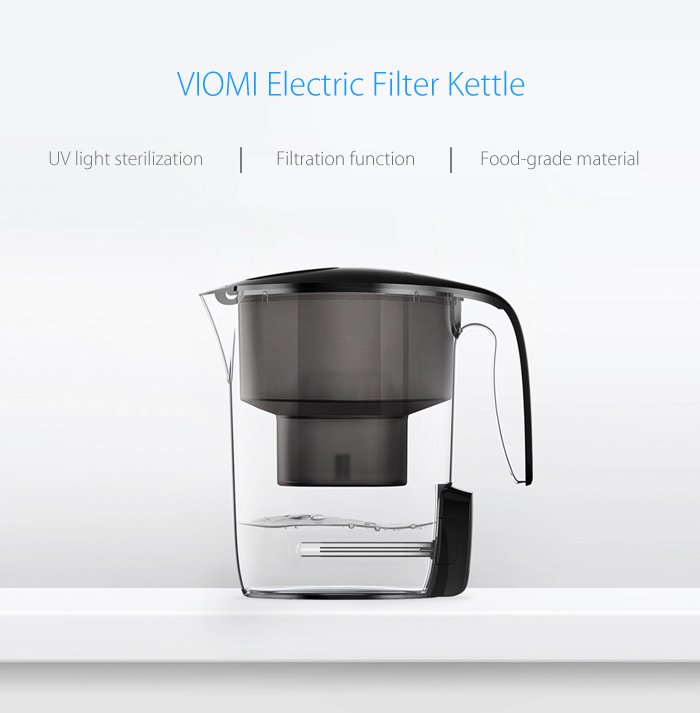 XIAOMI VIOMI MH1Z-A 3.5L Black Glass Cordless Electric Filter Kettle UV light Bacteriostatic Water Cleaner