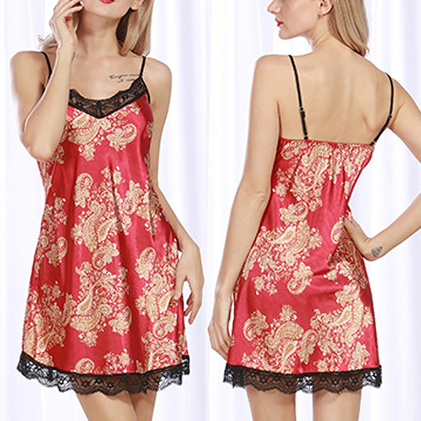 Silk Sexy Harness Pajamas Lace Trim Retro Style Nightdress