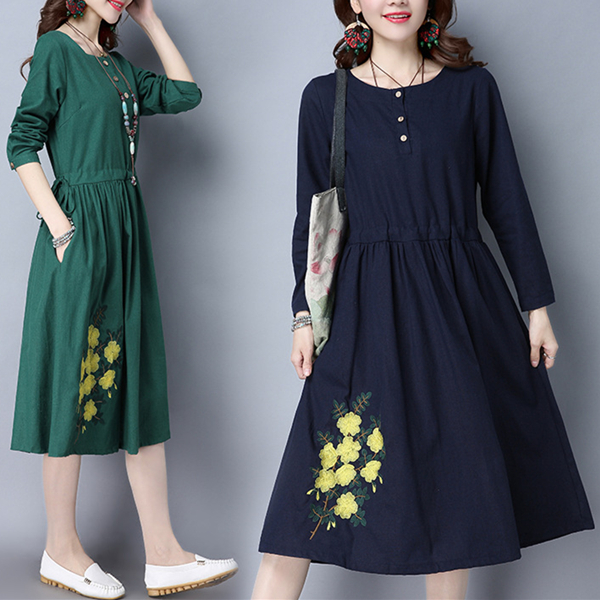 Vintage Women Long Sleeve Floral Embroidered Pockets A-Line Dresses