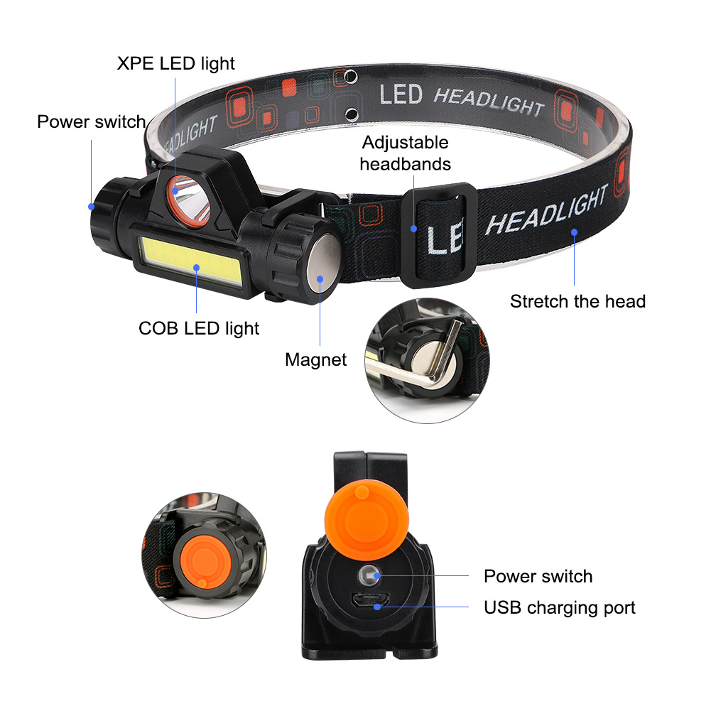 XANES 800LM XPE+COB 90° Rotatable LED Headlamp USB Rechargeable Outdoor Camping Hiking Cycling Fishing Light with Magnet