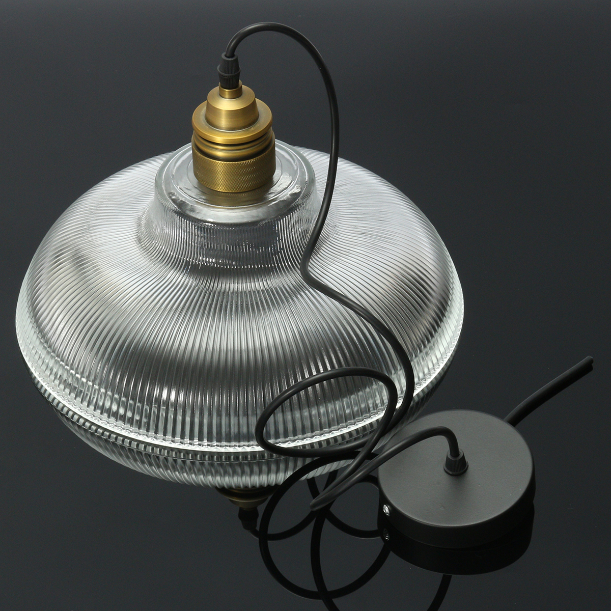 E27 Industrial Copper Glass Shade Ceiling Light Chandelier Pendant Fitting Lamp