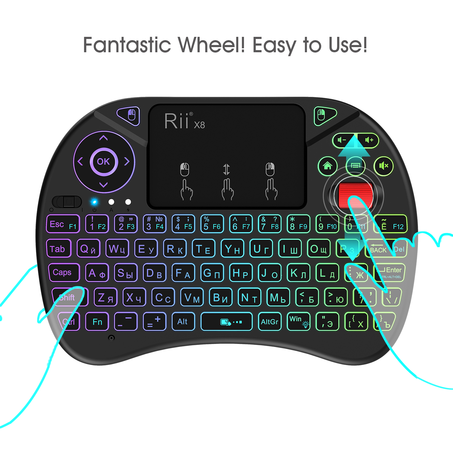 RII X8 Colorful Backlit 2.4G Wireless Russian Version Mini Keyboard Touchpad Airmouse