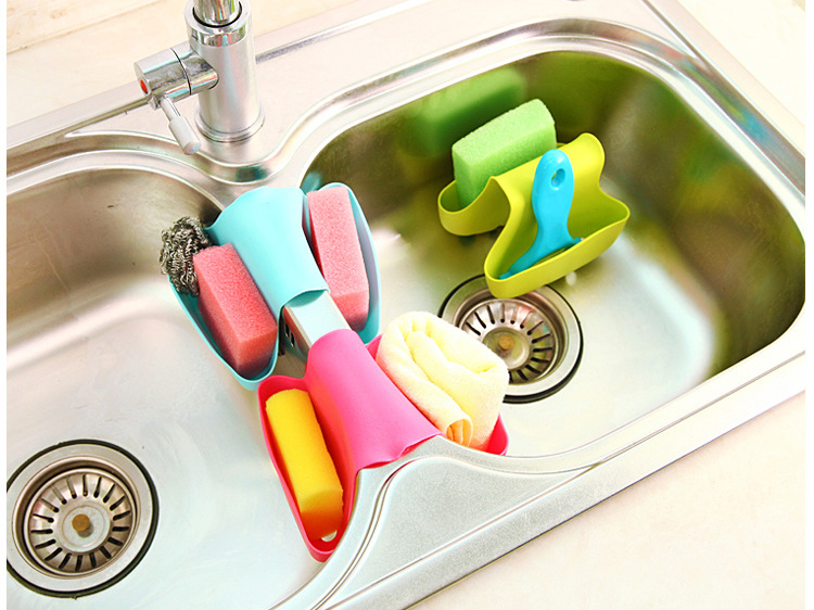 Creative Kitchen Sink Sponge Storage Bag Drain Saddle Dual Drain Basket Racks Sundries Organizer