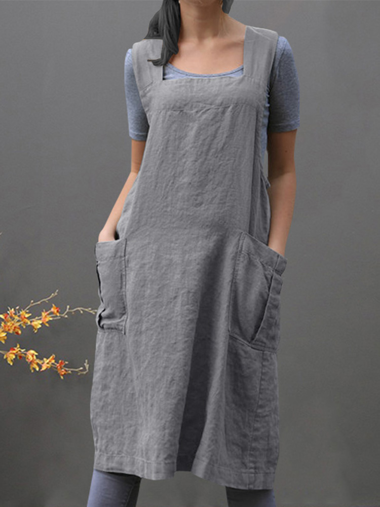 Women Sleeveless Side Pockets Cotton Loose Apron Dress