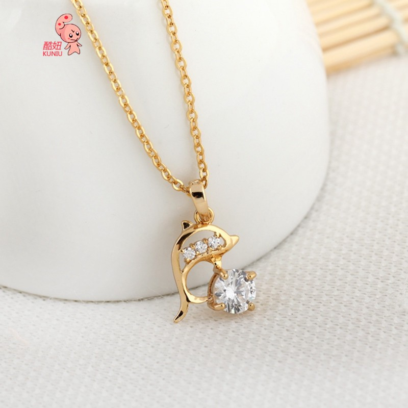 Kuniu 18K Gold Plated Dolphin Pendant Necklace For Women Jewelry