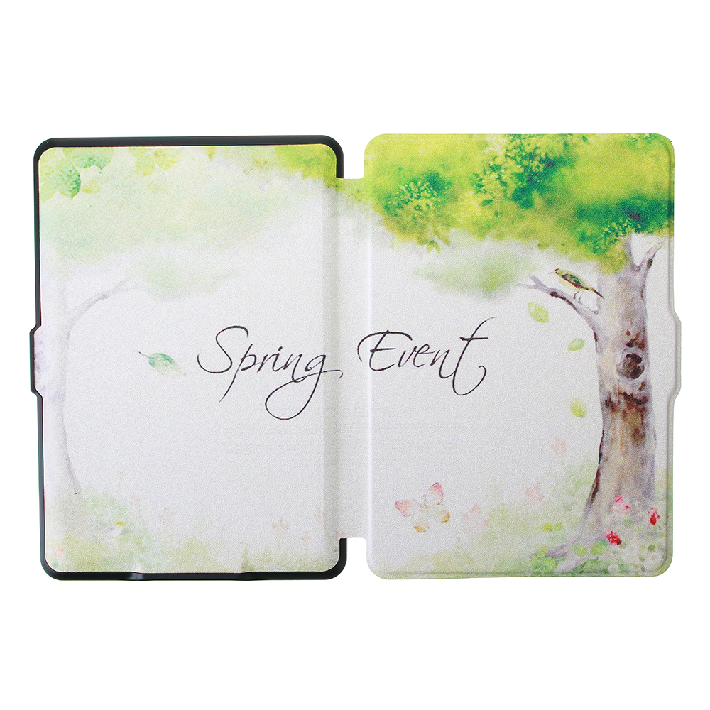 ABS Plastic Tree Painted Smart Sleep Protective Cover Case For Kindle Paperwhite 1/2/3 eBook Reader