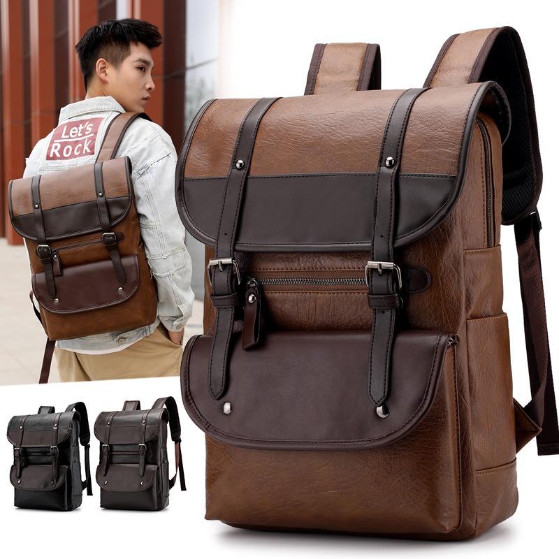 Men Large Capacity PU Leather Backpack Casual Vintage Bag