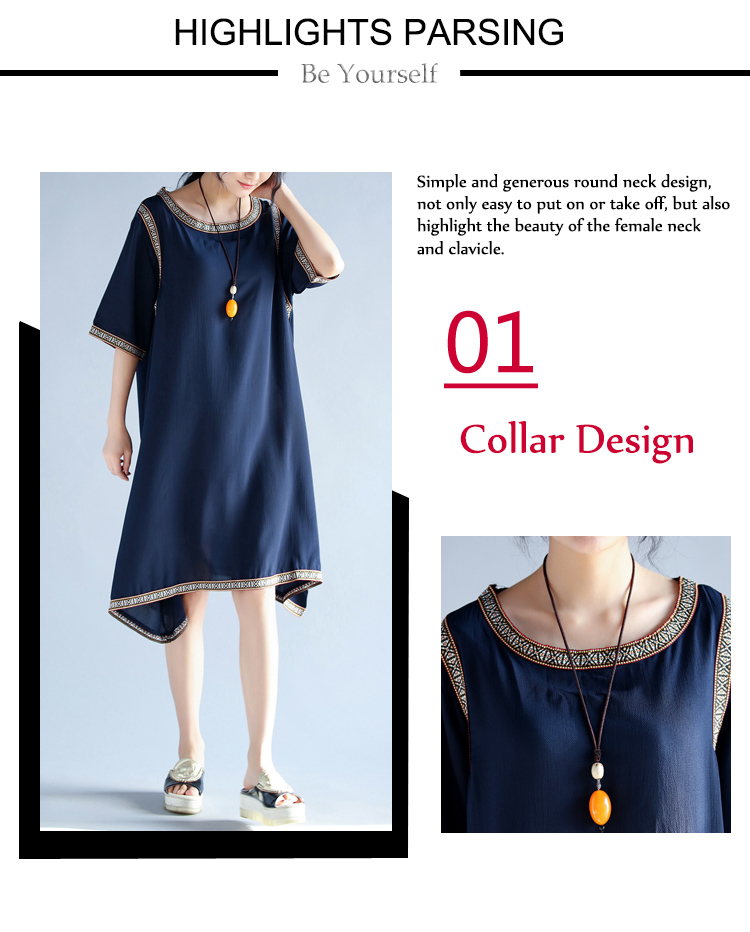 Casual Women Half Sleeve Round Neck Irregular Hem Dresses
