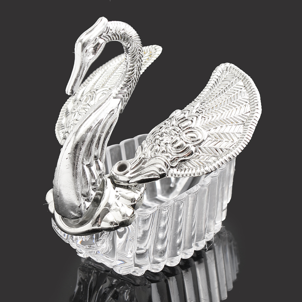 12Pcs Swan Shape Silver Transparent Plastic Candy Boxes Gift Package Wedding Party Supply