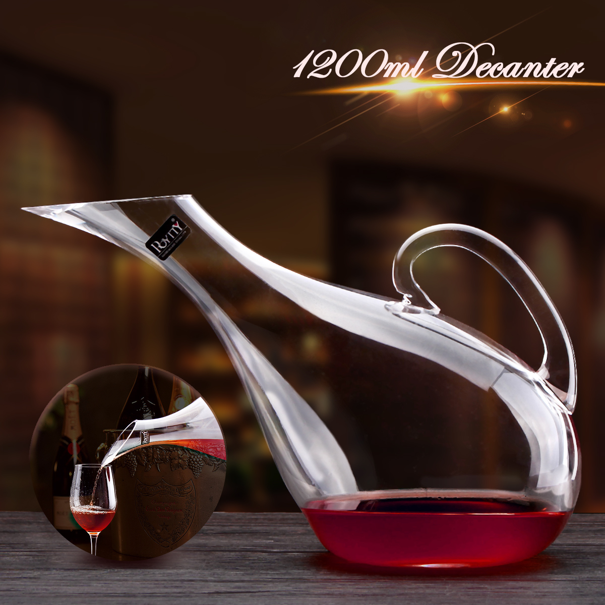 Swan Crystal Wine Glass Wine Decanter Artificial Blowing Manual Cold Cut Lead-free Crystal Wine Bottle Pourer 1200ml Swan Style Harp Shape Transparent Wine Decanter