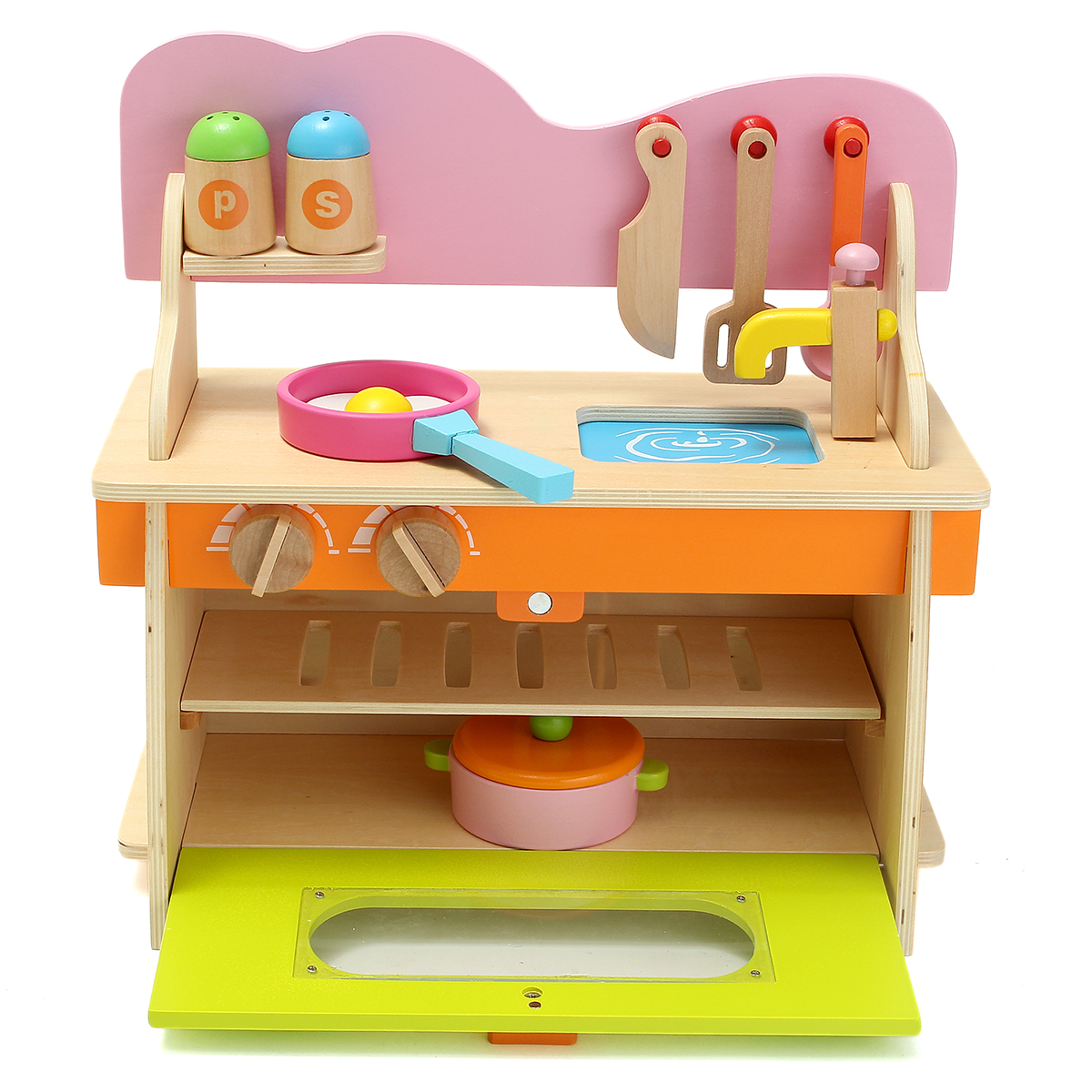 36*17*36cm Colorful Kitchen Wooden Wood Pretend Gas Stove Toy Model Set For Kids Gifts Home