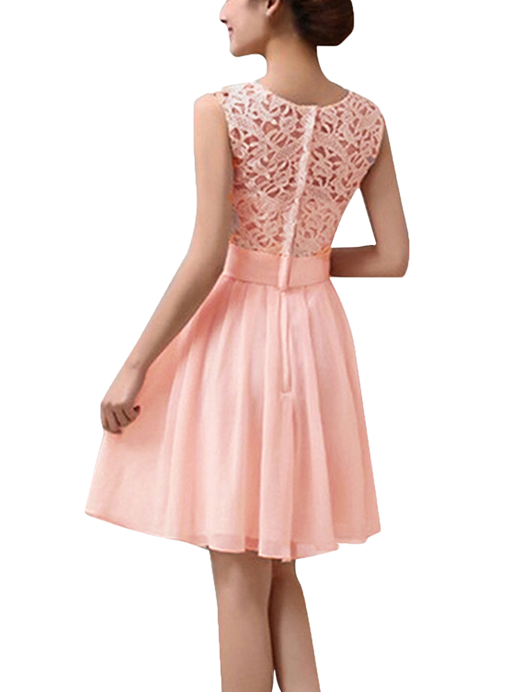 Elegant Lace Crochet Patchwork Sleeveless Women Chiffon Pleated Party Formal Dress