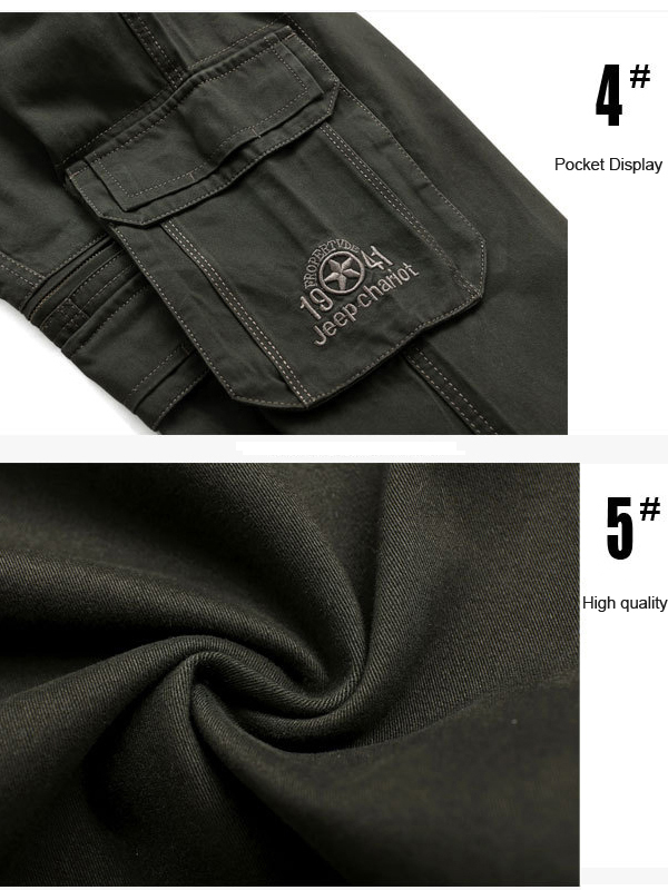 Mens Casual Big Size Cotton Multi Pocket Trouers Solid Color Straight Legs Cargo Pants