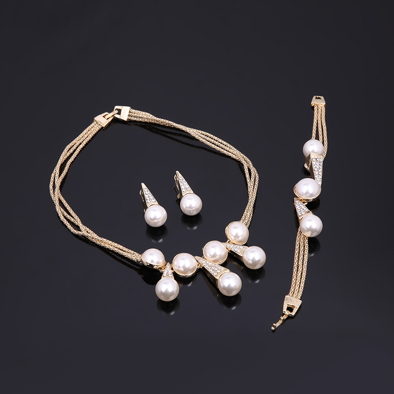 18K Gold Charm Necklace Bracelet Earrings Ring Set for Women