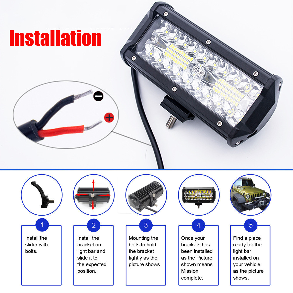 6.5Inch 40W 6000K 80 LED Work Light Bar Combo Fog Driving Lamp White for Offroad Truck Boat ATV
