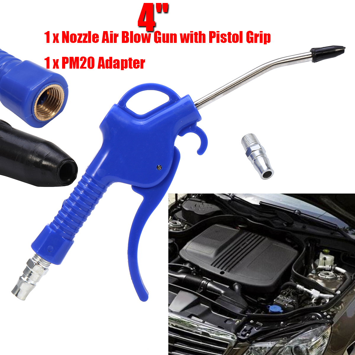 Grip Air Blow Gun with 4-Inch NPT Angle Duster Rubber Nozzle