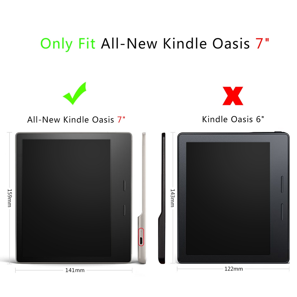 PU+Plastic Smart Sleep Protective Cover Case For Oasis Kindle 7 Inch Ebook Reader