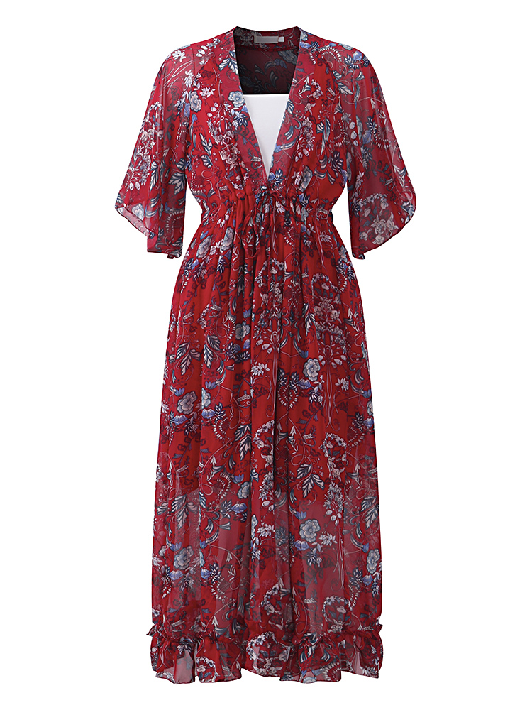 Bohemian Women V-Neck Floral Printed High Waist Flared Sleeve Chiffon Dress