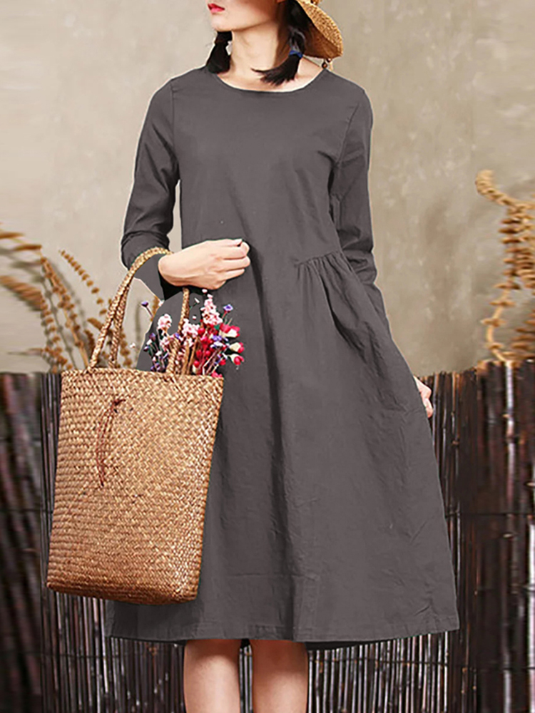 Women Solid Color Long Sleeve Crew Neck Mid Long Dress
