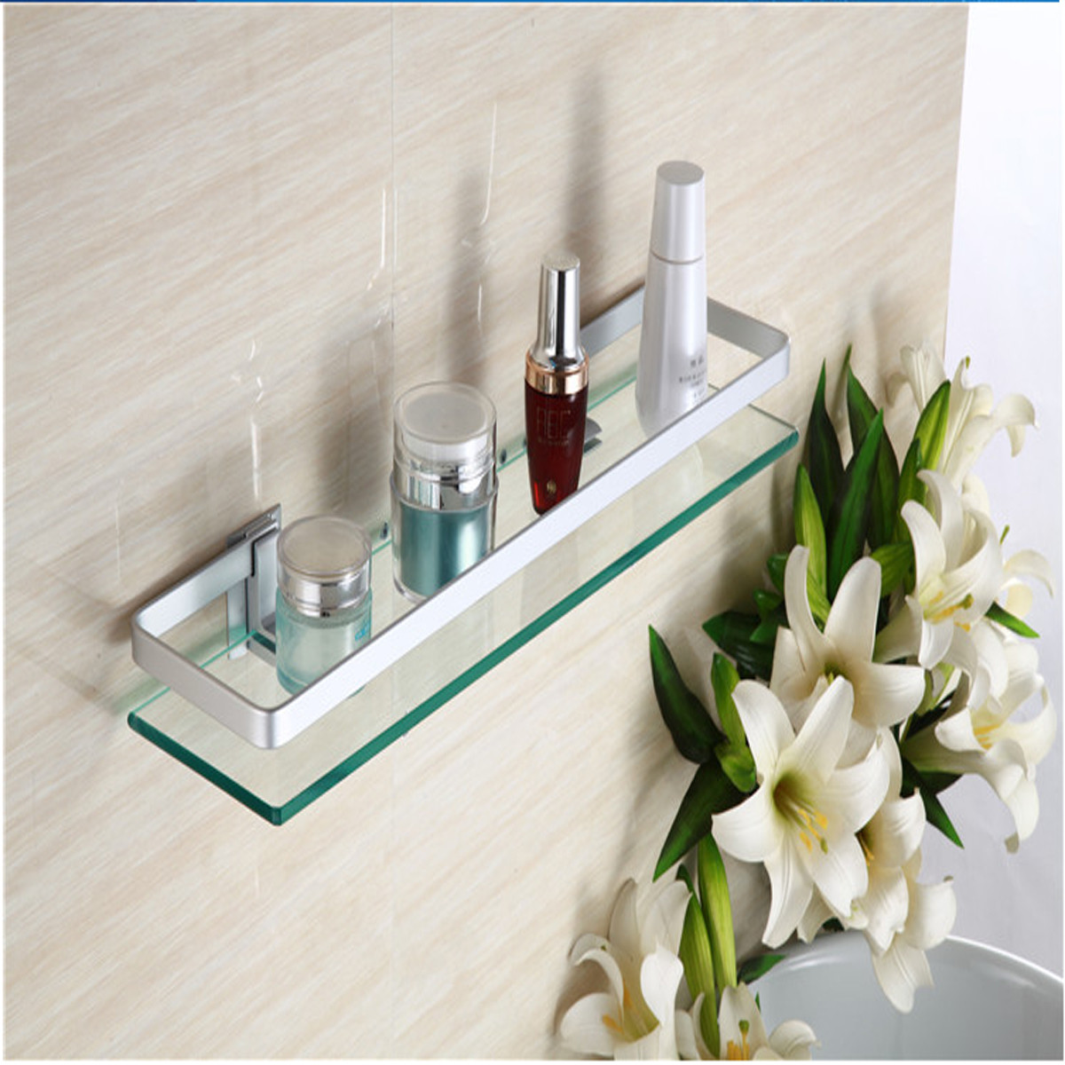 Glass Bathroom Shelf Rectangle Wall Mounted Sundries Stand