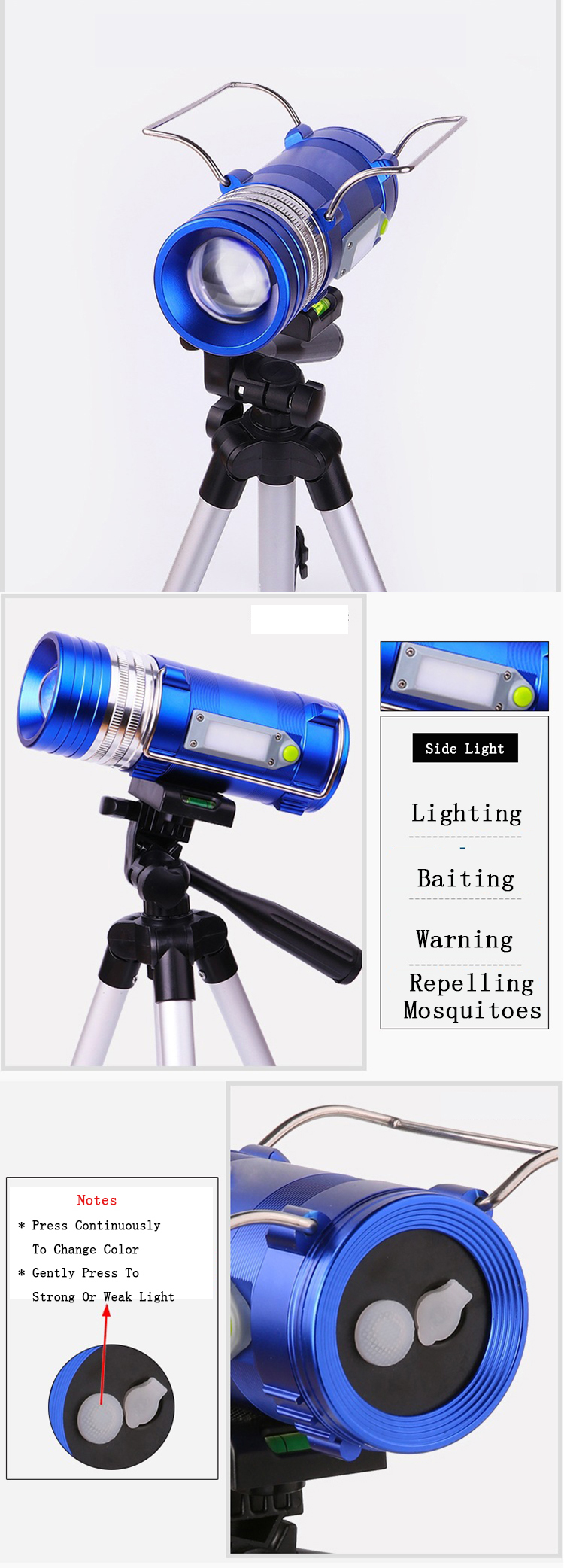XANES 450LM 3 Color LEDs 500M Range Zoomable Rechargeable LED Fishing Flashlight Lamp With Charger
