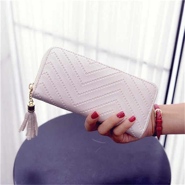 Women Lady Tassel PU Leather Clutch Wallet Long Card Holder Case Purse