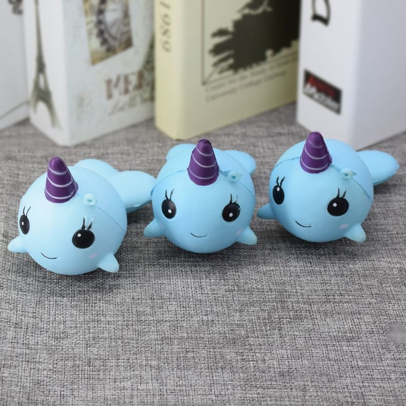 Squishy Narwhal Uni Whale Blue 11cm Slow Rising Cute Soft Collection Gift Decor Toy