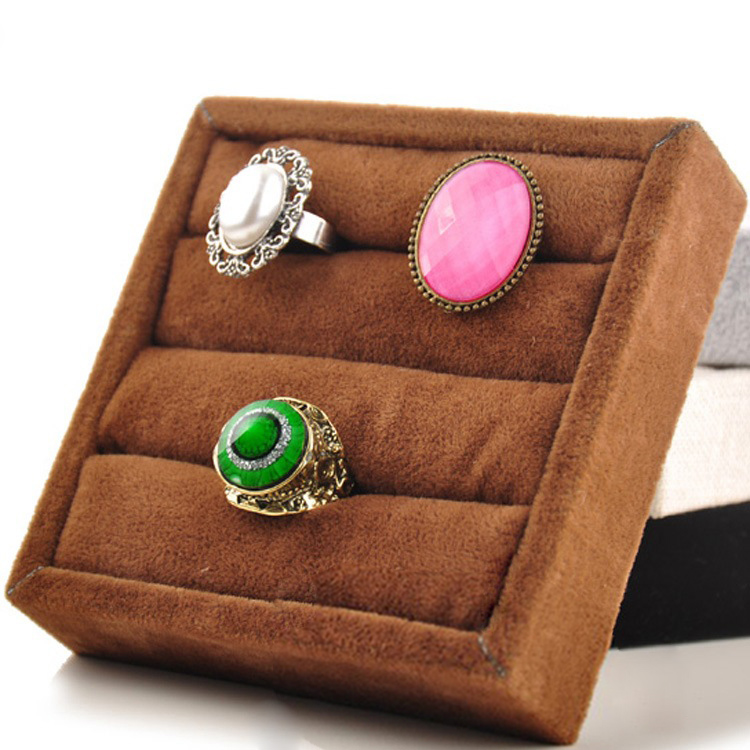 1 Pcs Ice Velvet Ring Earrings Display Stand Jewelry Tray Holder Storage Box