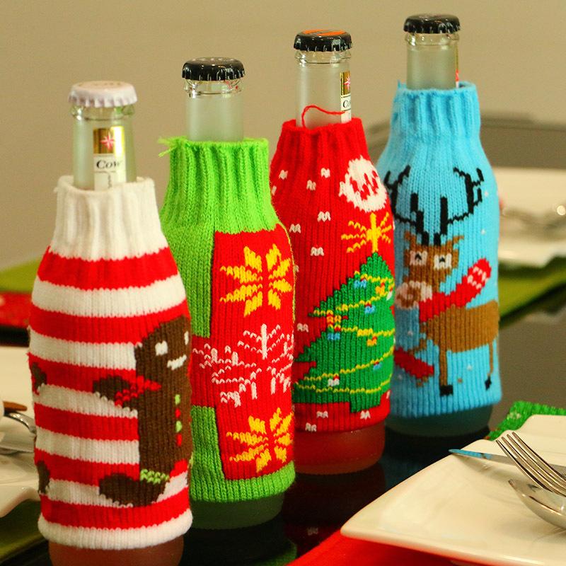 Christmas Snowman Deer Knitting Stockings Candy Gift Bags Beer Wine Bottle Cover Set Christmas Decor