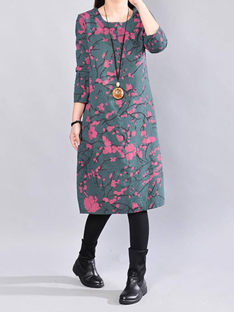 Casual Print Long Sleeve O-neck Women Dresses