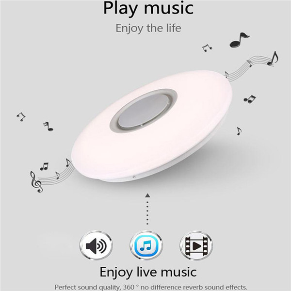 24W Modern LED Music Flush Mount Ceiling Light Colorful Lamp Fixture with bluetooth Speaker AC110V
