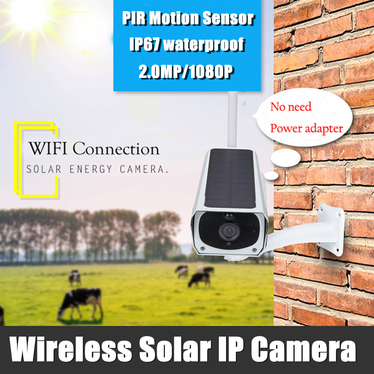 Solar Powered Wireless WIFI IP Camera 1080P HD Infrared Night Vision Waterproof Security Surveillance CCTV Dual Power Supply Long Standby
