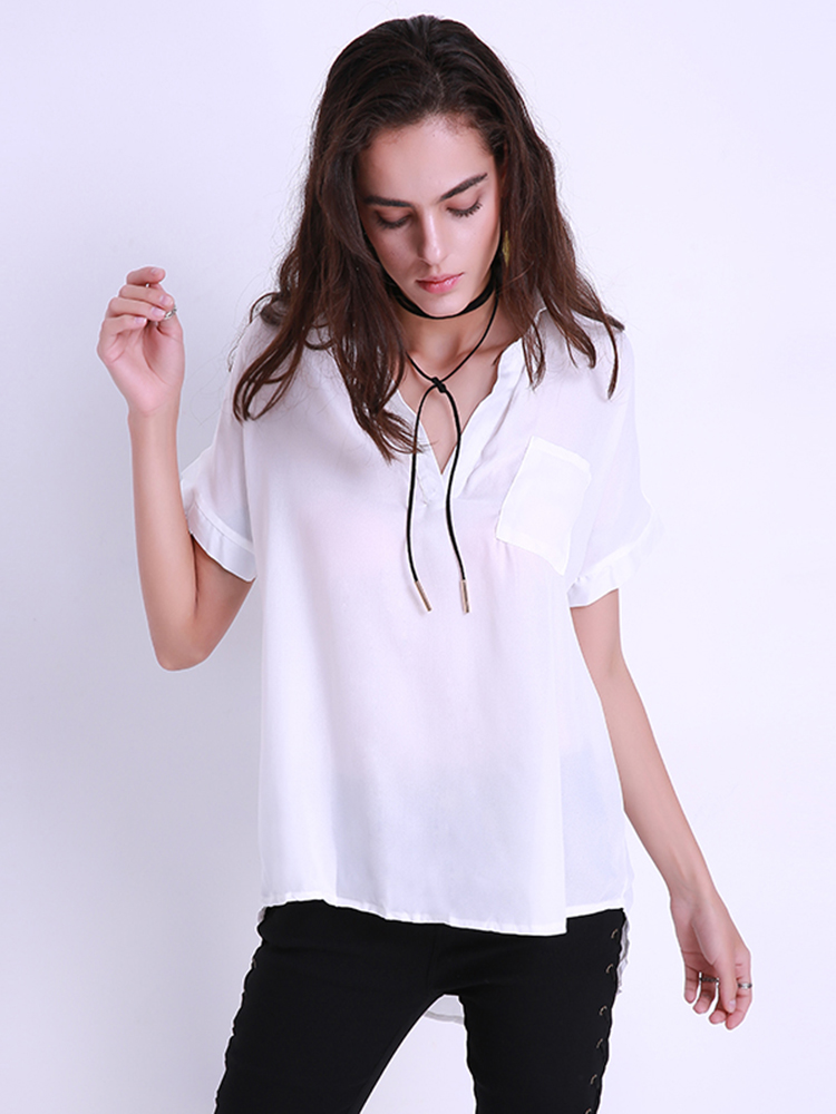 Casual Women Irregular Hem See-through Short Sleeve Loose Chiffon Lapel Tops