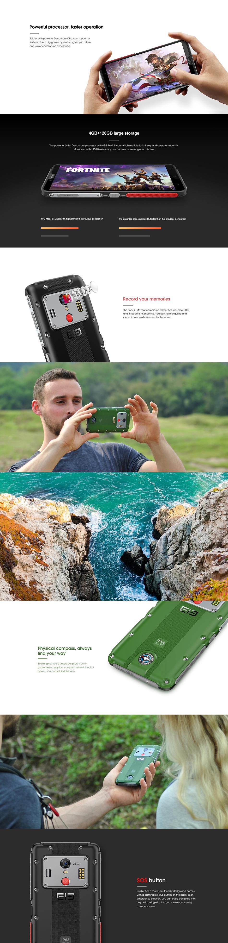 Elephone Soldier 5.5 Inch 2K Screen 5000mAh IP68 Waterproof 4GB 128GB MTK X25 Deca core 4G Smartphone