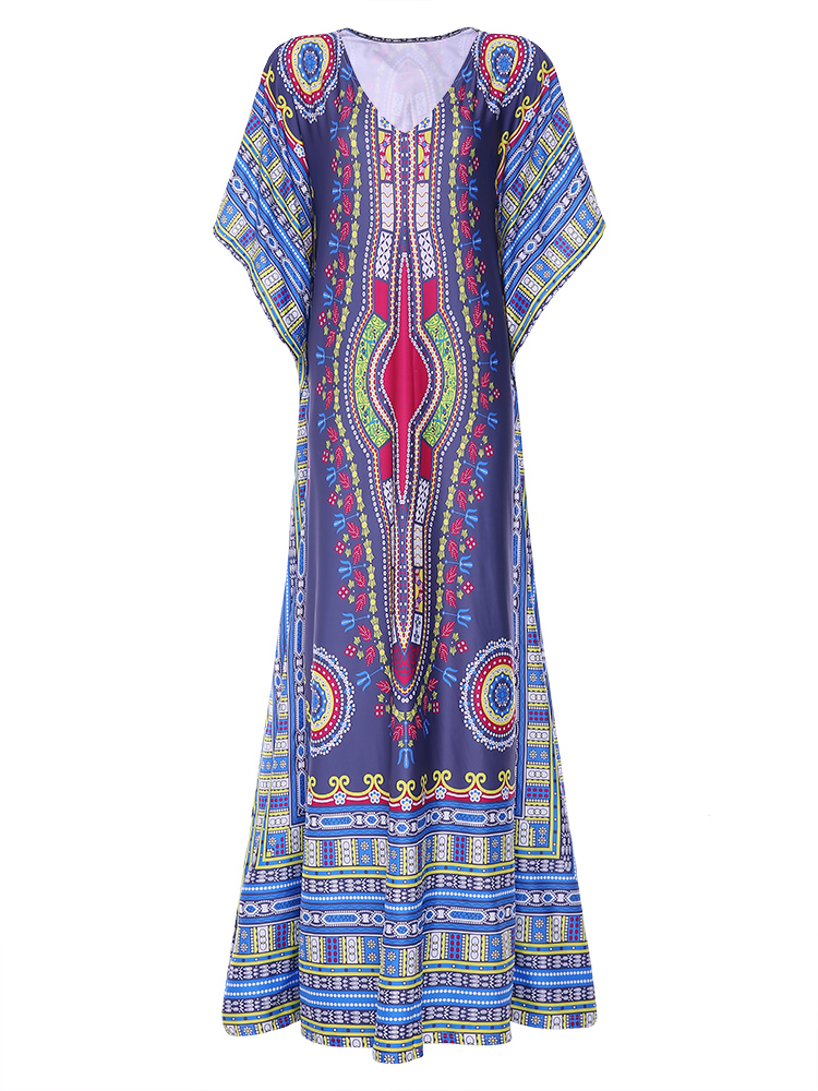Ethnic Women Printing V-Neck Loose Maxi Dresses