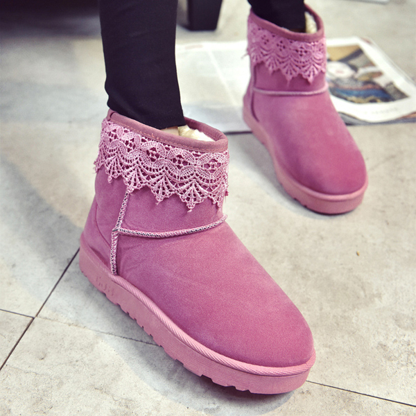Soft Sole Round Toe Slip On Ankle Short Snow Boots For Women