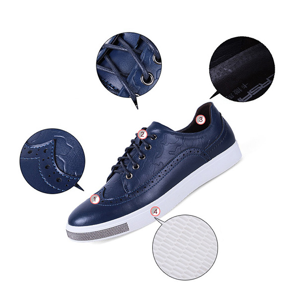Men Leather Vintage Retro Pattern Lace Up Casual Comfortable Outdoor Brogue Shoes
