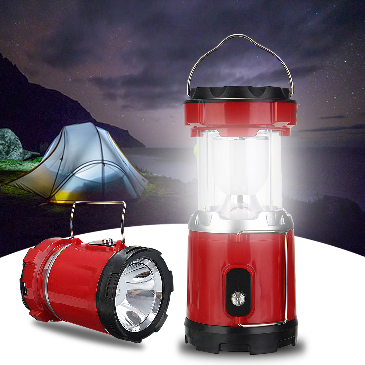IPRee™ Portable Collapsible 5W LED Light Camp Solar DC Rechargeable Lantern Emergency Torch