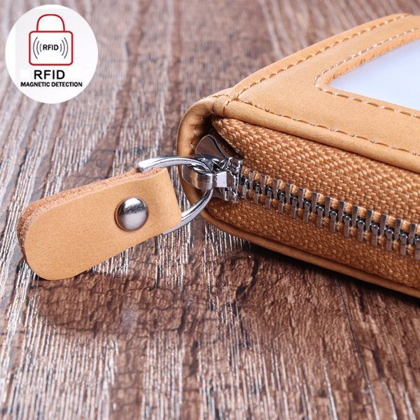 RFID Blocking Wallet Men Women Cow Leather 12 Card Slots Card Holder Wallet
