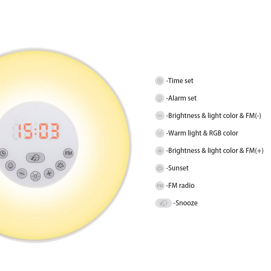 ARILUX® Touch Wake Up Light Sunrise Simulation with Alarm Clock & FM Radio Colorful Atmosphere Lamp