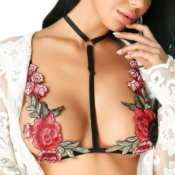 Rose Embroidery Bralette Sexy Women Bras