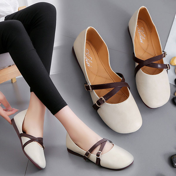 Women Flat Casual Shoes Buckle Slip-On Outdoor Loafers