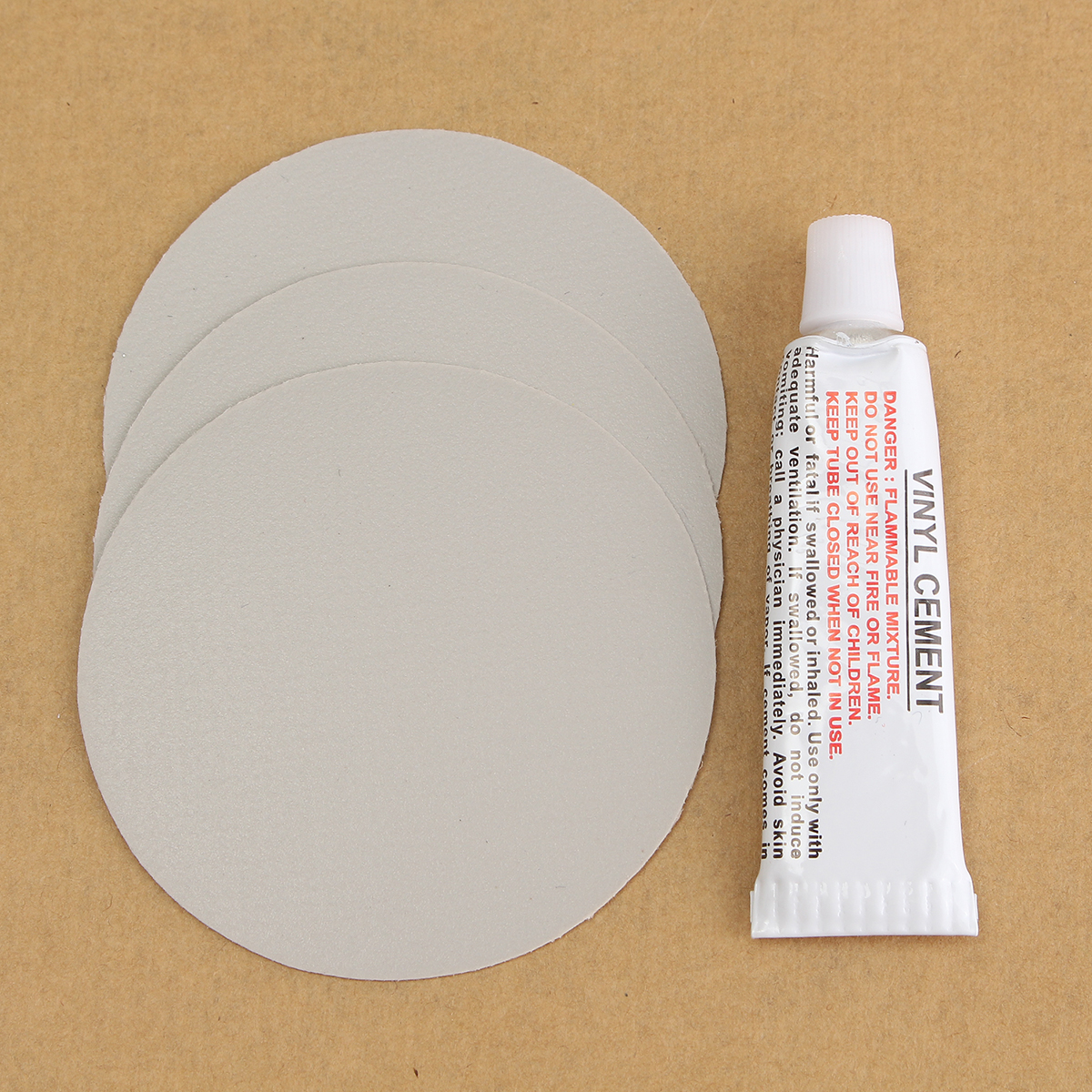 3pcs Circular Pvc Repair Patches With Vinyl Cement Glue