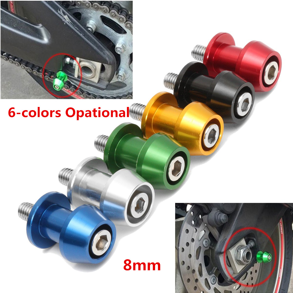 Pair 8mm Swing Arm Spool Motorcycle CNC Slider Stand Bobbins Universal Alloy