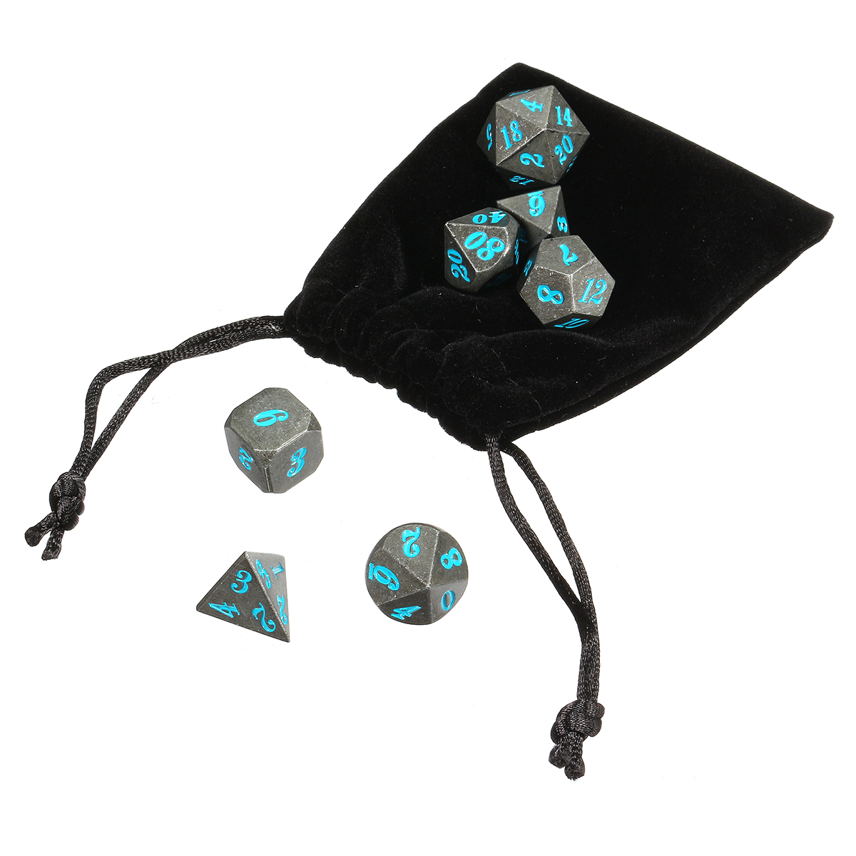 Antique Metal 7 Pcs Multisided Dice Heavy Metal Polyhedral Dices Set w/ Bag