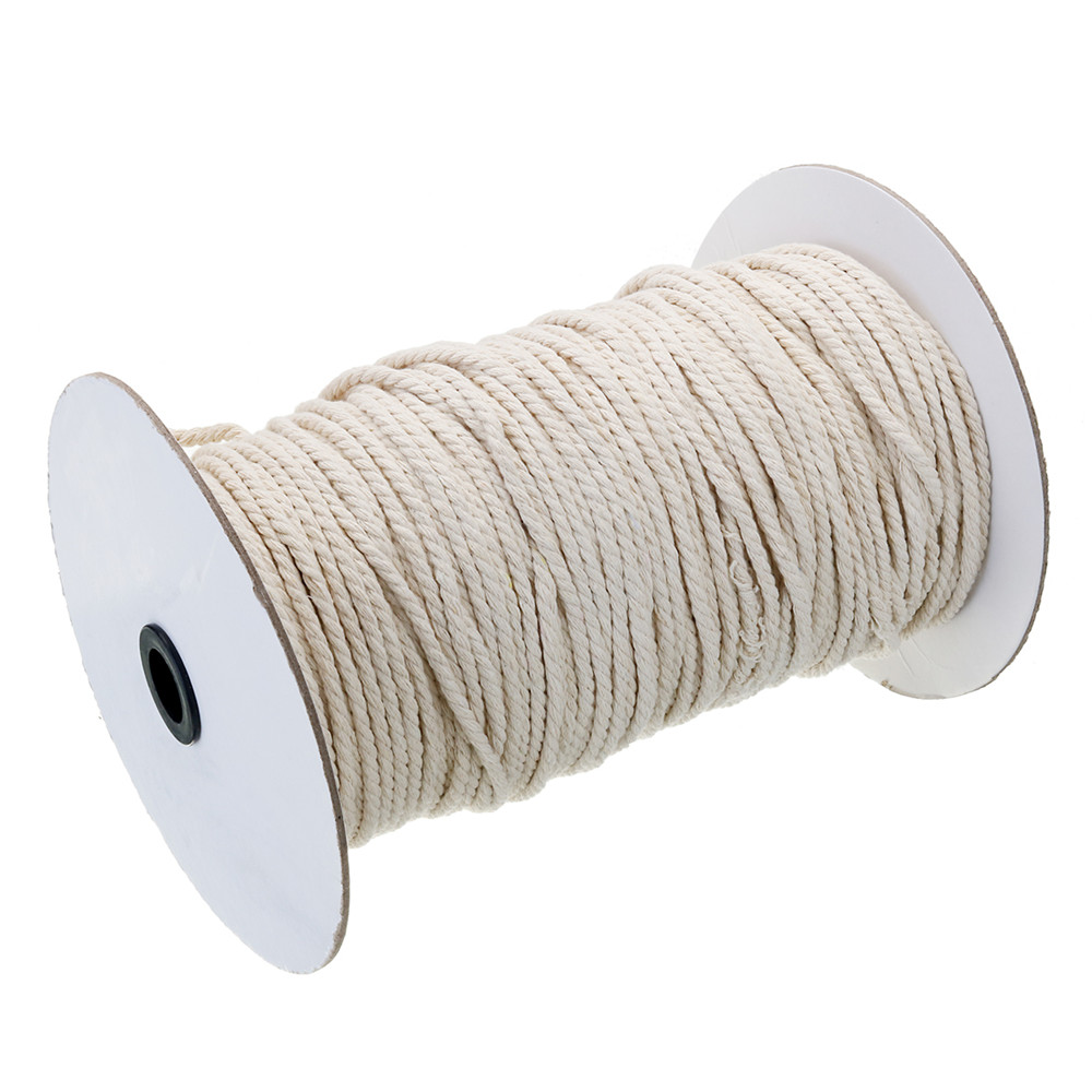 3/4/5/6mm Natural White Braided Wire Cotton Twisted Cord Rope DIY Craft Macrame String