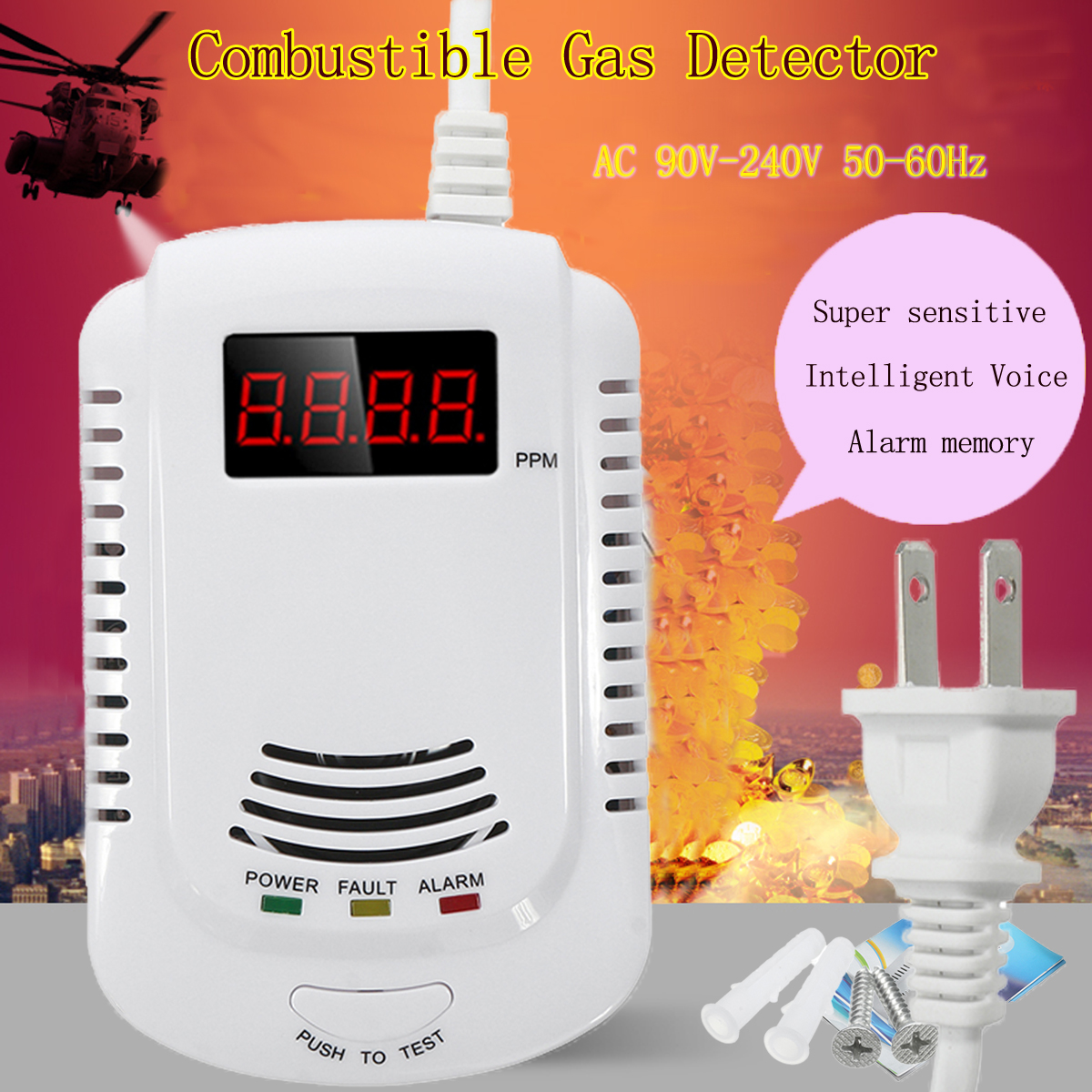 White Smoke Alarm Combustible Air Fluid Detector Intelligent Voice Prompt