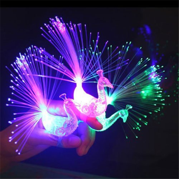 Creative Colorful Peacock Finger LED Light Ring for Parties Cheering Novelty Toys Gift For Kids