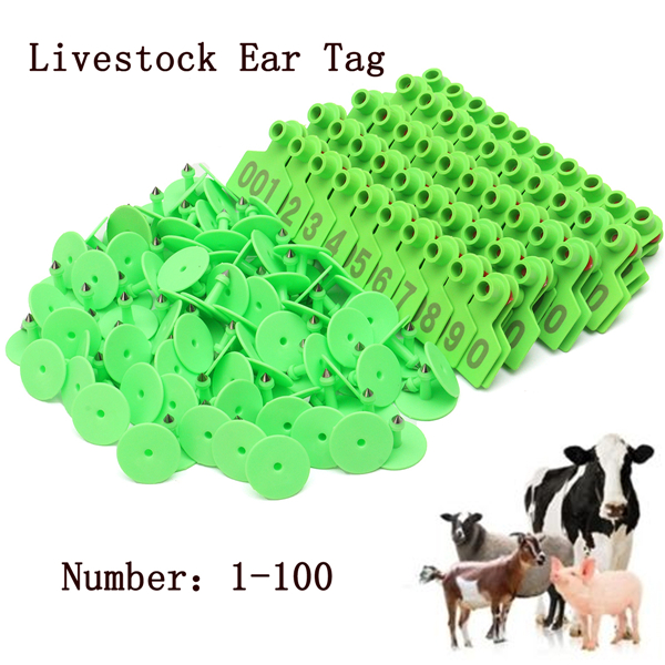 Green Plastic 1-100 Number Animal Livestock Ear Tag For Goat Sheep Pig