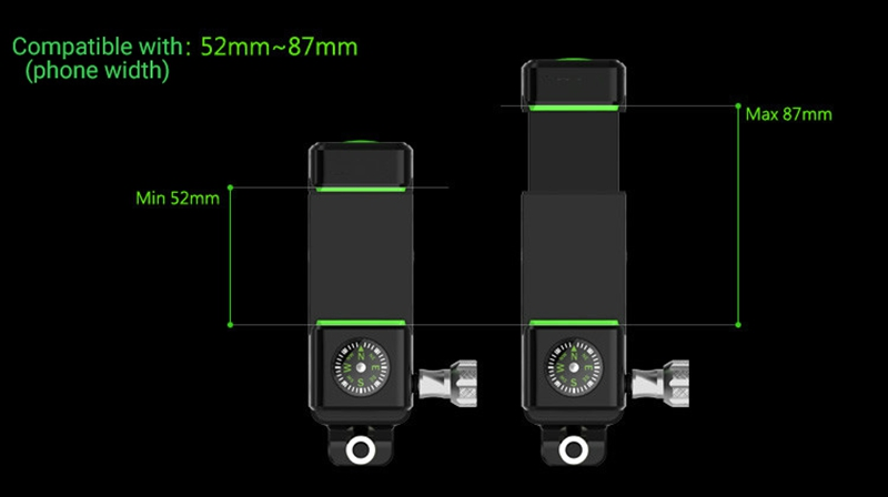 BIKIGHT LW-019 360° Angle Rotation Guide Bike Phone Holder Multifunction LED Light Compass Bicycle Mobile Phone Bracket
